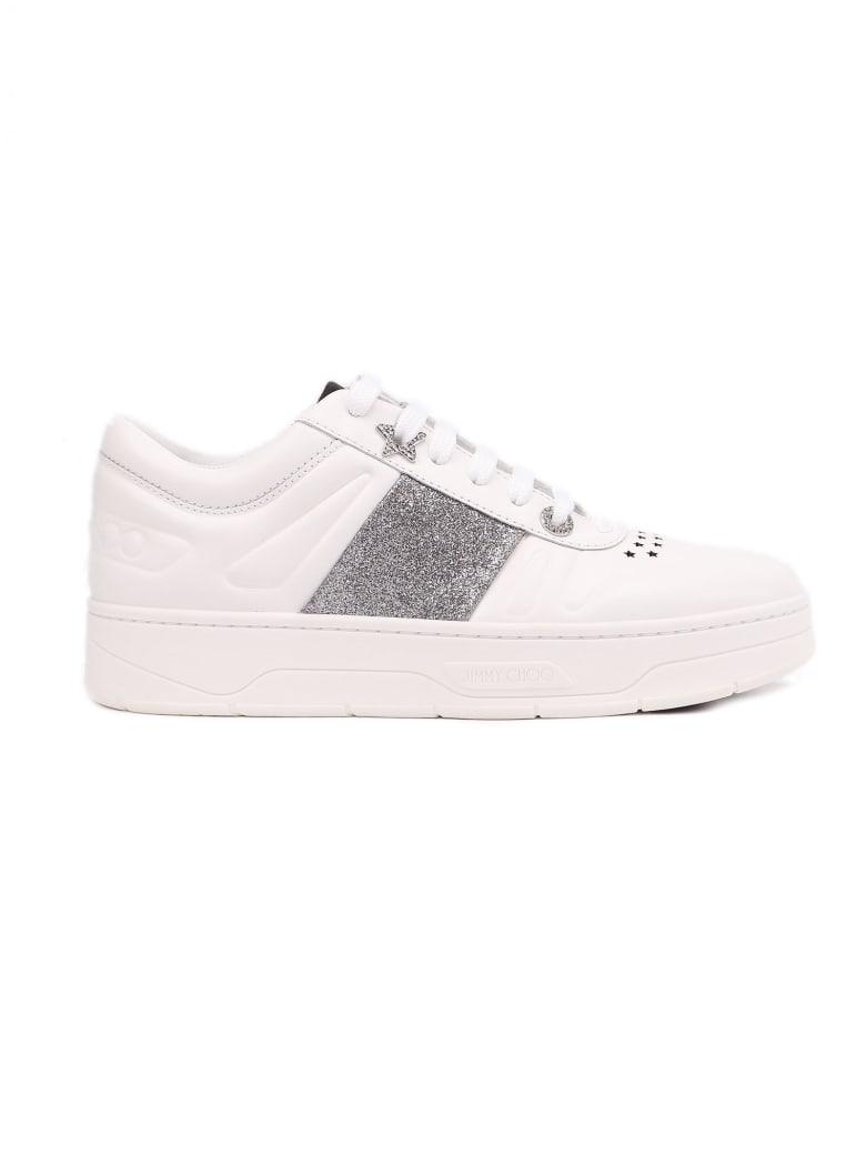 Jimmy Choo Calf Leather Glitter Stripe - X White Silver