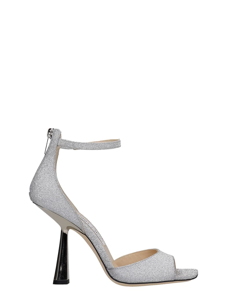 Jimmy Choo Reon 100 Sandals In Silver Leather - silver