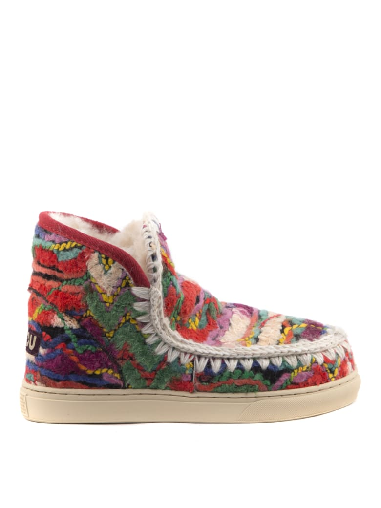 Mou Multicolor Ethnic Wool Ankle Boot - Ethnic wool multicolor
