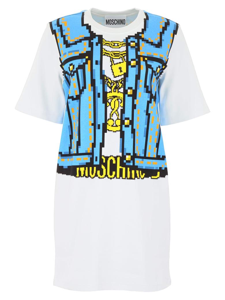 Moschino Denim Print Mini Dress - FANTASIA BIANCO (White)
