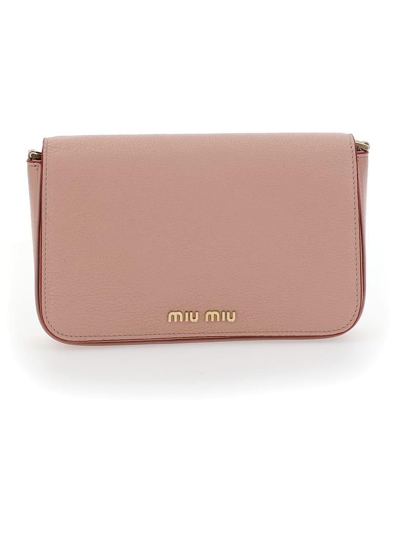 Miu Miu Logo Plaque Crossbody Bag - Orchidea