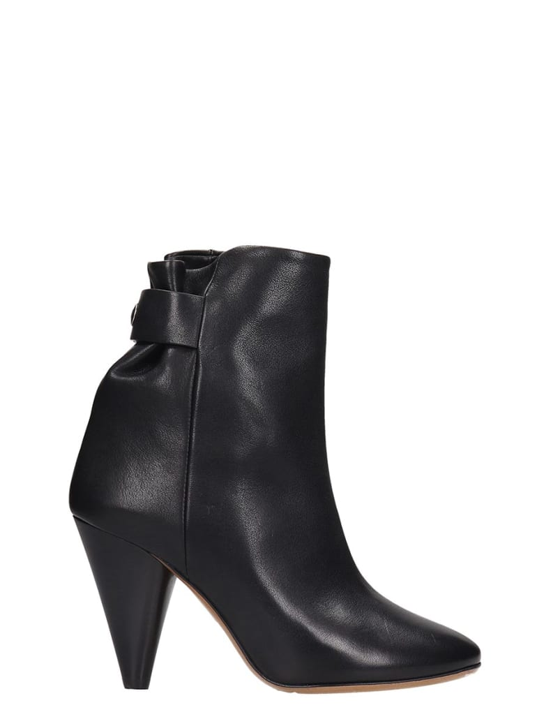 Isabel Marant Lystal High Heels Ankle Boots In Black Leather - black