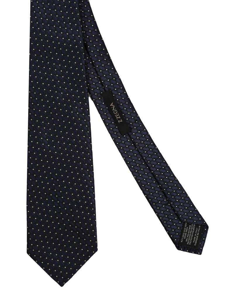 1f06a1fba1 Z Zegna midnight blue silk tie. Model