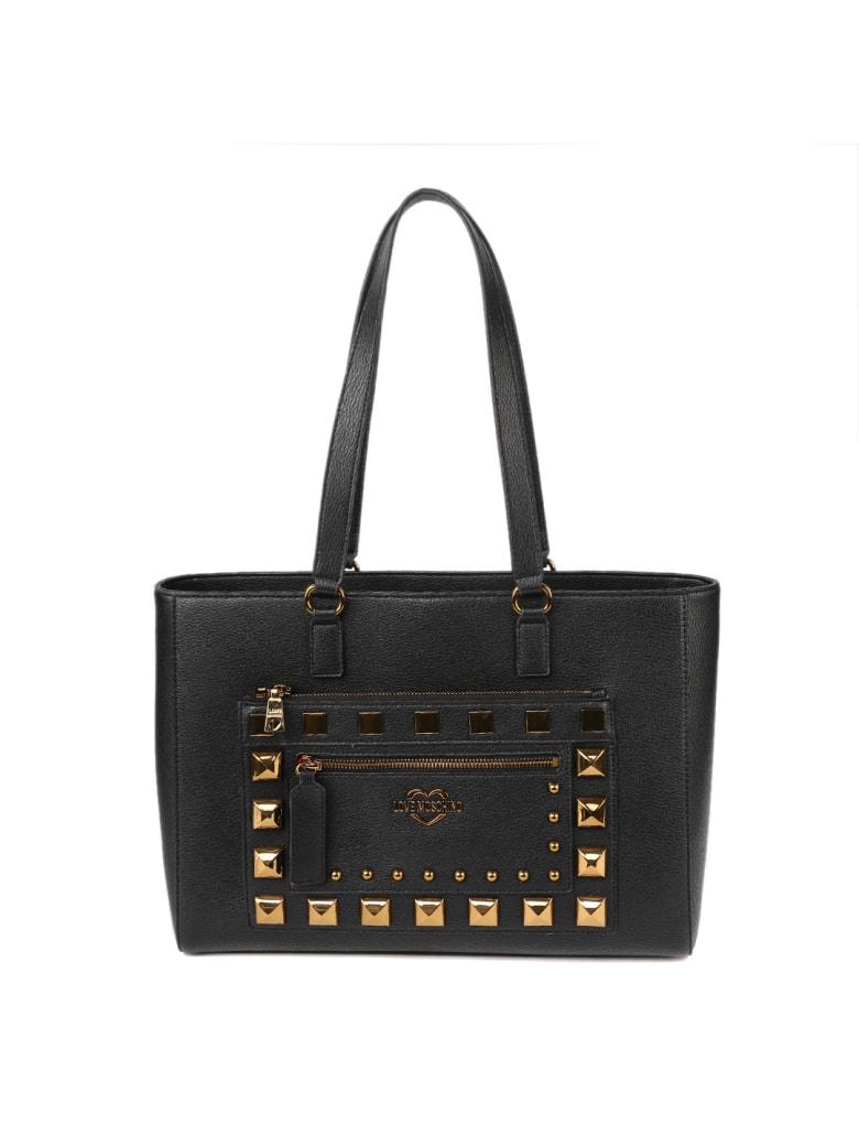 Love Moschino Black Ecoleather Studs Bag - Black