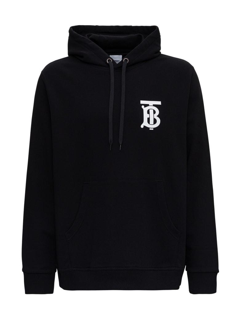 Burberry Landon Hoodie Sweater With Tb Monogram Logo - Black