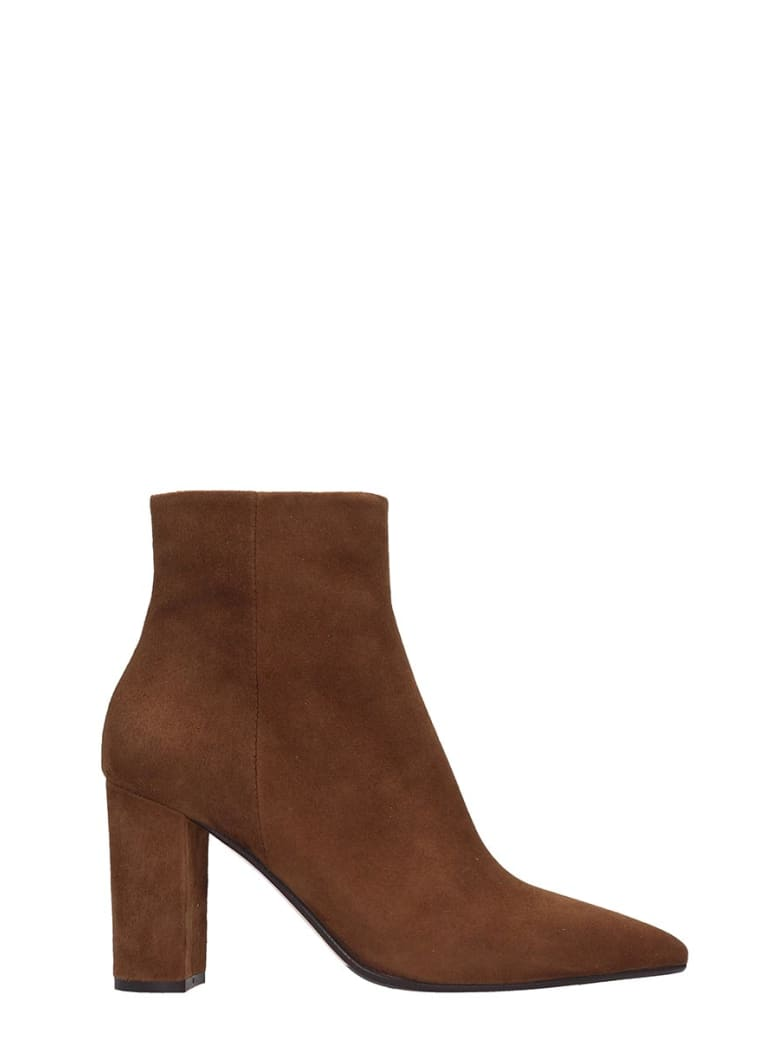 The Seller High Heels Ankle Boots In Leather Color Suede - leather color