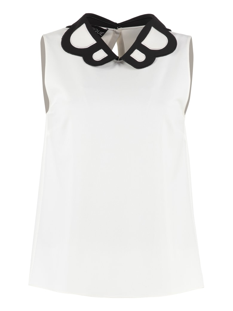 Boutique Moschino Crêpe Blouse With Collar - panna