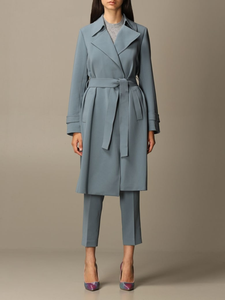 Theory Coat Theory Coat In Crêpe Dressing Gown With Belt - Dust