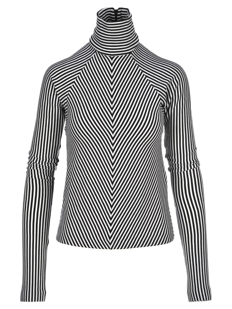 Haider Ackermann Striped Turtleneck Sweater - WHITE BLACK