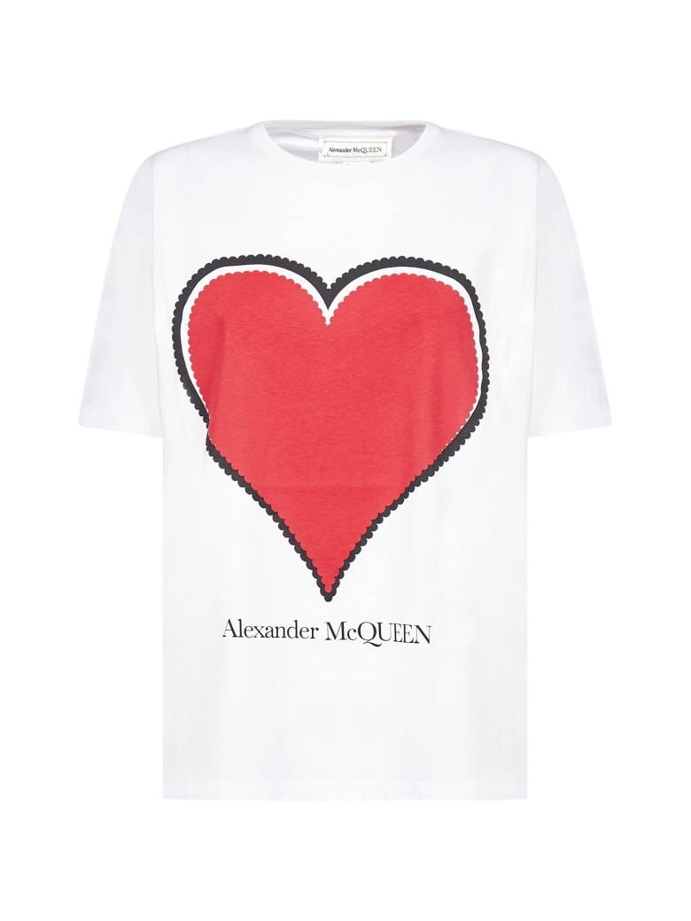 Alexander McQueen Print And Logo Cotton T-shirt - White