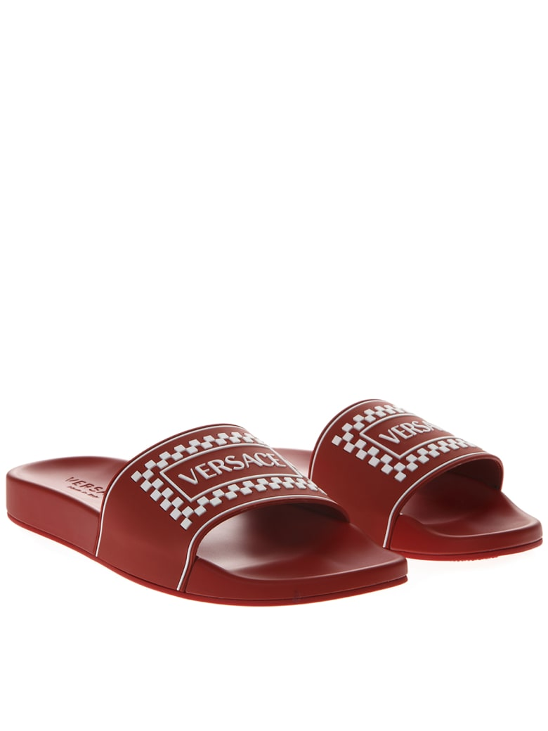76f0ba8ae2 Versace Red Leather Slides With Versace Logo