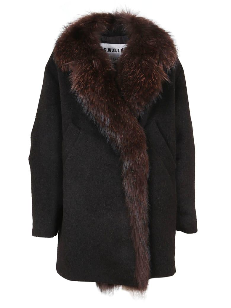 S.W.O.R.D 6.6.44 Black Fur And Wool Coat - Black