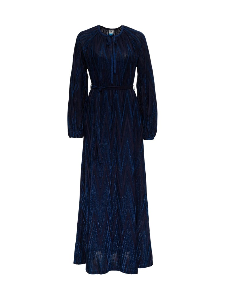 M Missoni Long Dress In Lurex Knit With Chevron Pattern - Blu