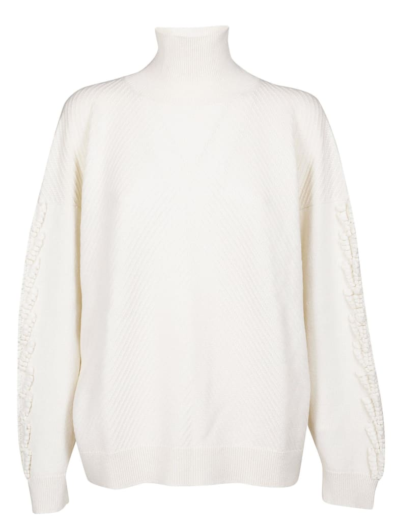 Barrie Fringed Sweater - White