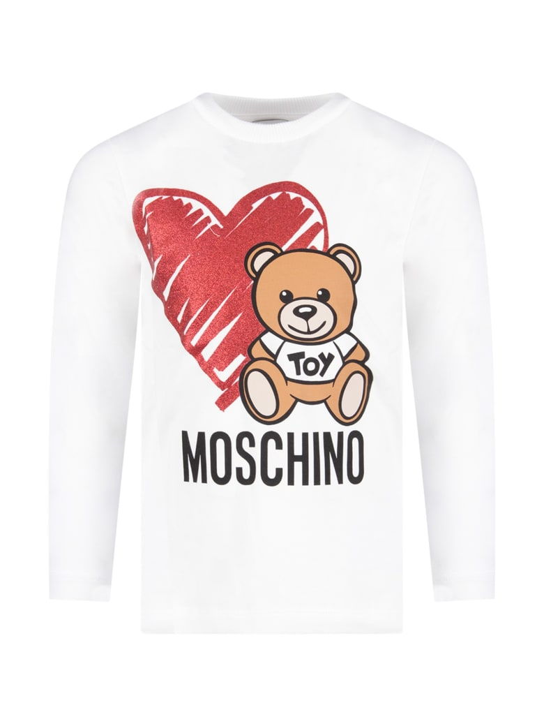 Moschino White Girl T-shirt With Teddy Bear And Heart - White