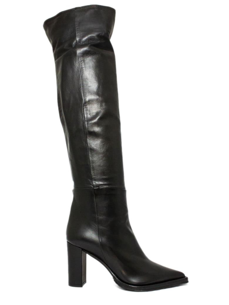 Aldo Castagna Black Leather Candida Boots - Nero