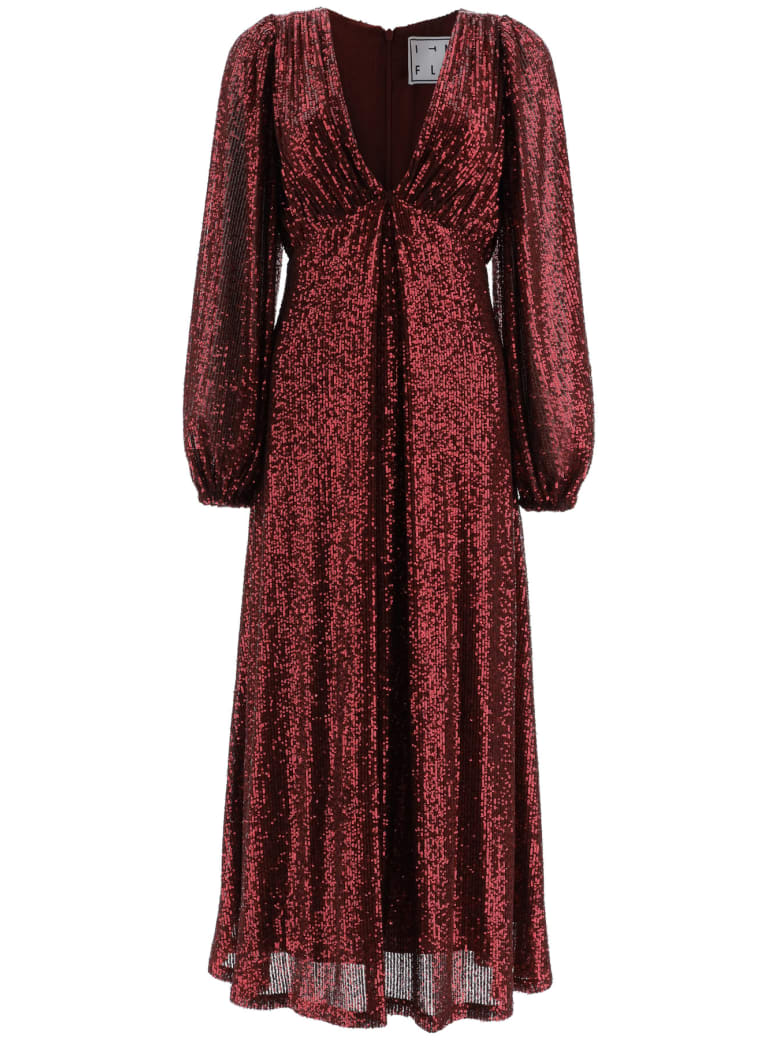 In The Mood For Love Irina Sequined Dress - BURGUNDY (Red)