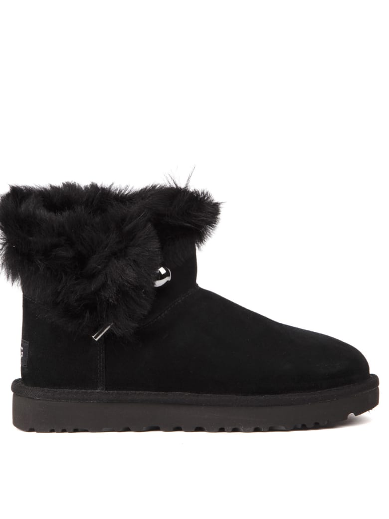 UGG Classic Fluff Black Sheep Ankle Boots - Black