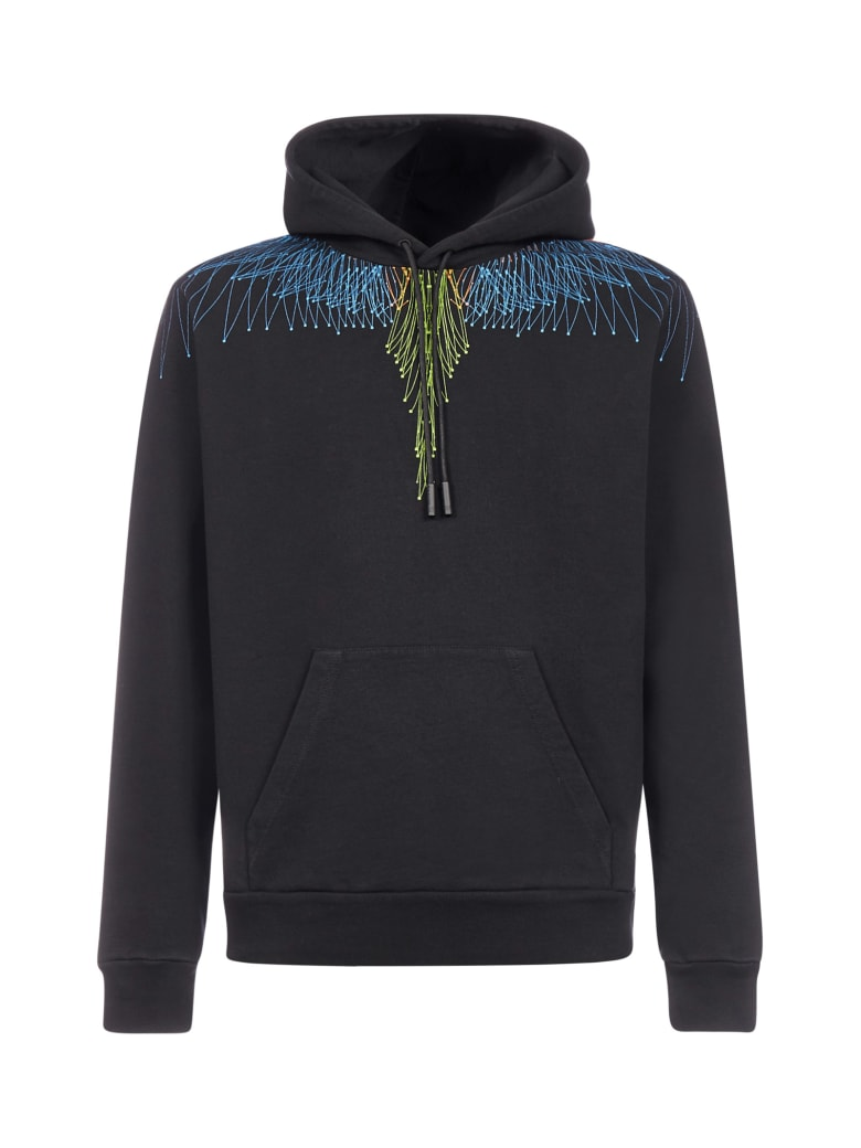 Marcelo Burlon Bezier Wings Cotton Hoodie - Blacklight