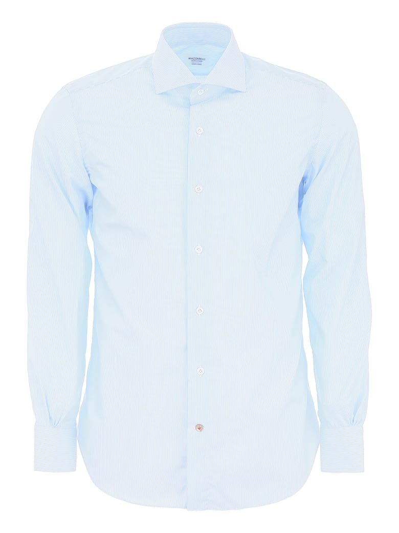 Mazzarelli Striped Shirt - RIGA STRETTA BIANCO CELESTE (Light blue)