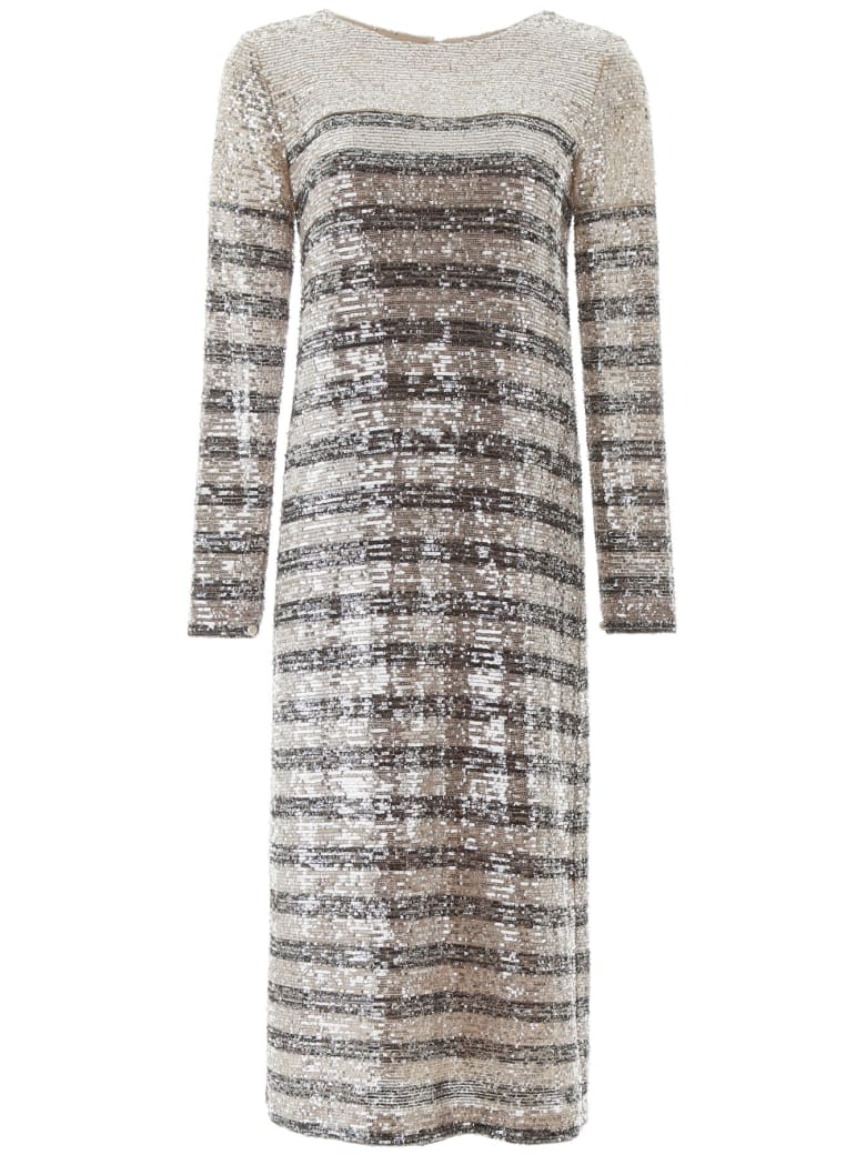 In The Mood For Love Bettina Sequined Midi Dress - SILVER BLACK (Silver)