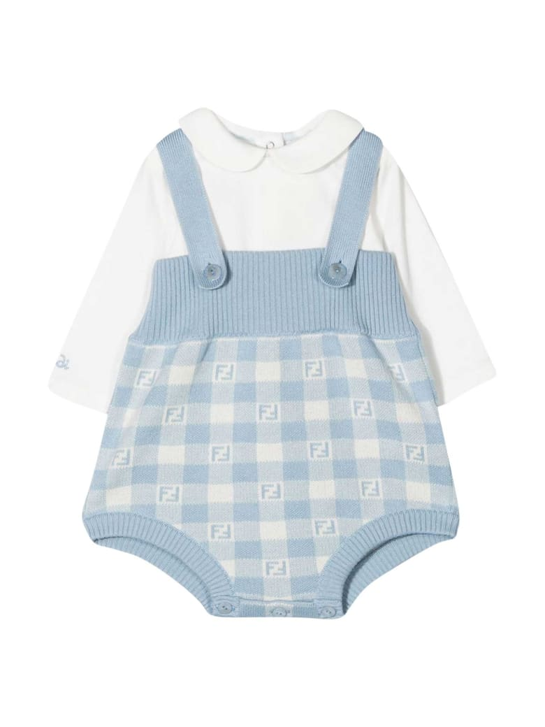 Fendi Blue Shirt And Dungaree Set - Celeste