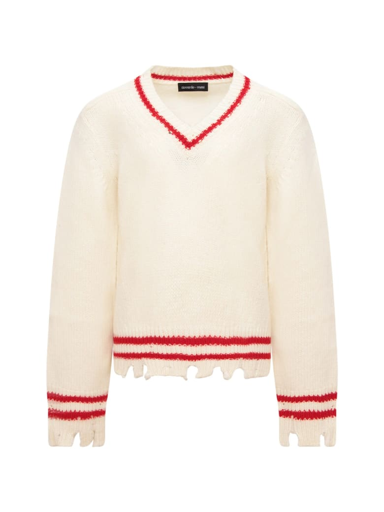 Riccardo Comi Ivory Sweater With Red Details - White
