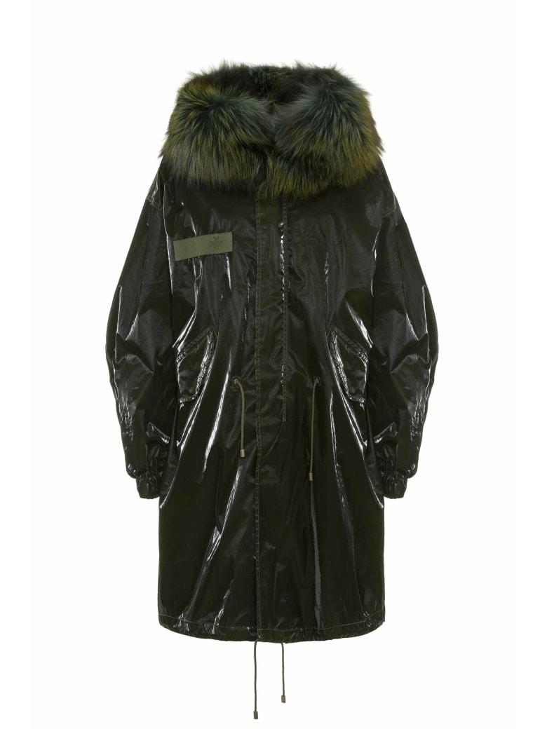 Mr & Mrs Italy Unisex Parka M51 With Fox Fur Collar - LONDON GREEN / GREEN/BLACK / CAMALEONTE