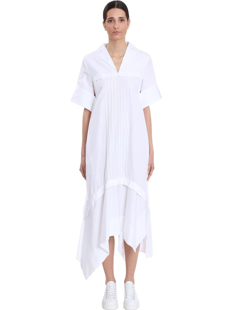 Jil Sander Minerva Dress In White Cotton - white