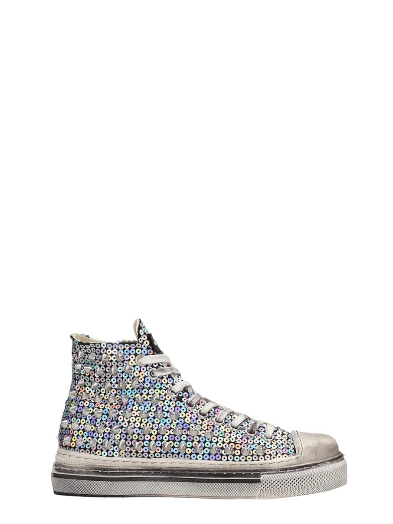 Gienchi J.m.high Sneakers In Silver Tech/synthetic - silver