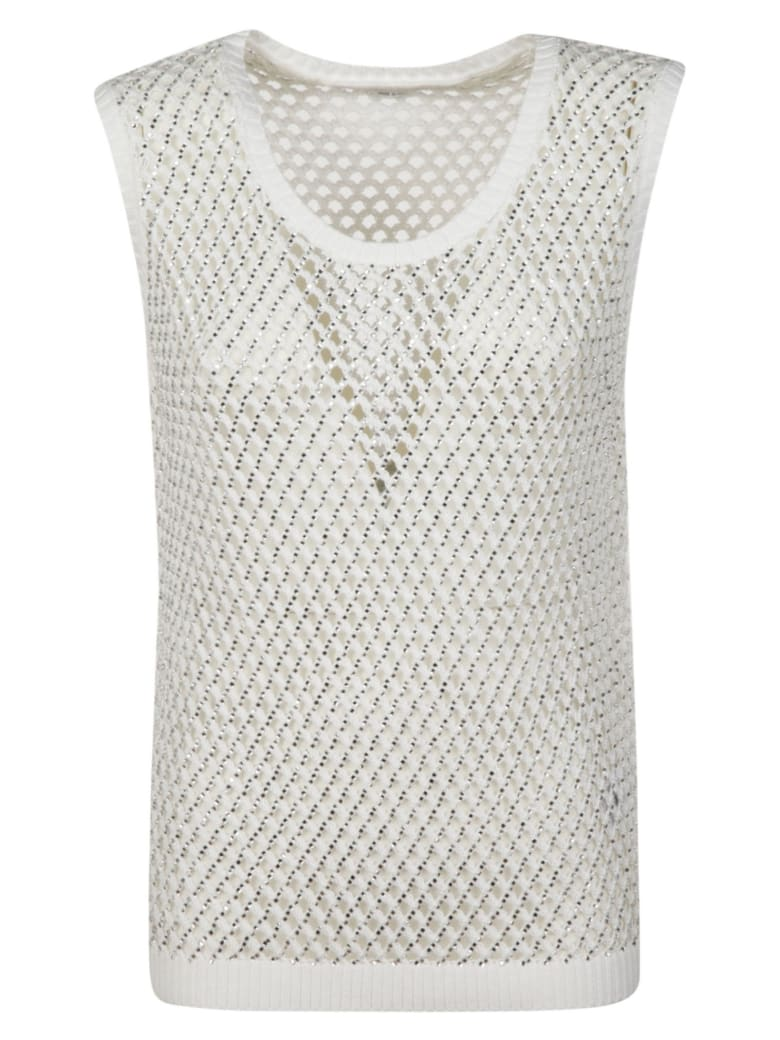 Ermanno Scervino Perforated Tank Top - White