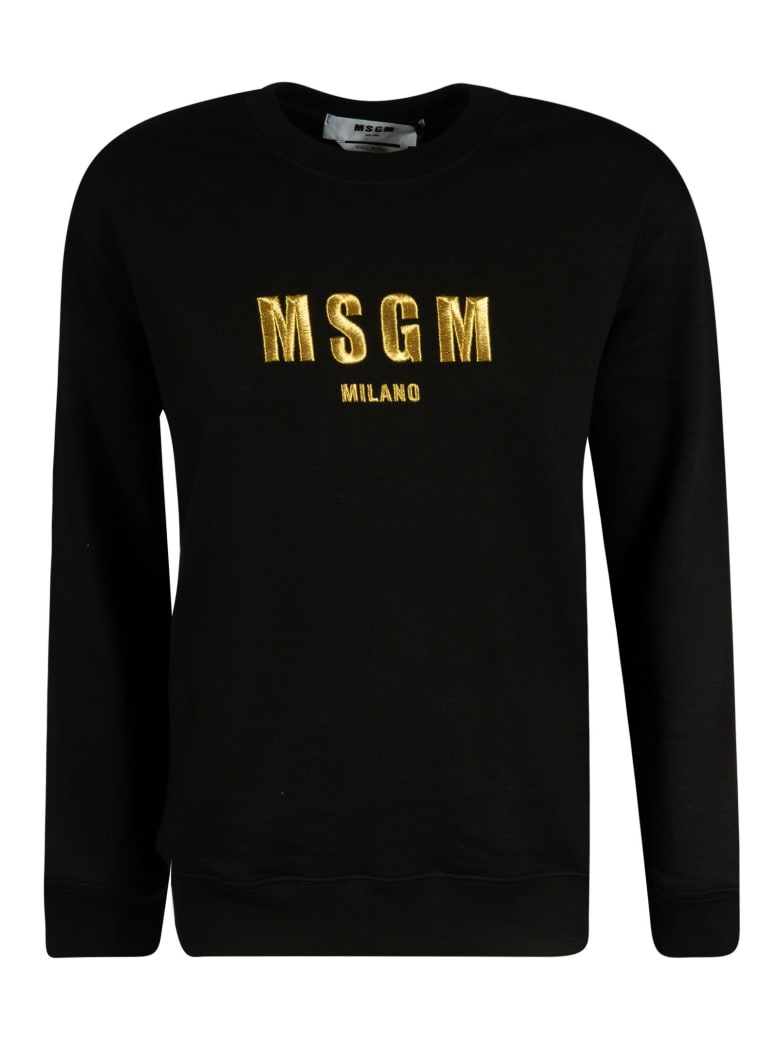 MSGM Embroidered Logo Sweatshirt - Black/Gold