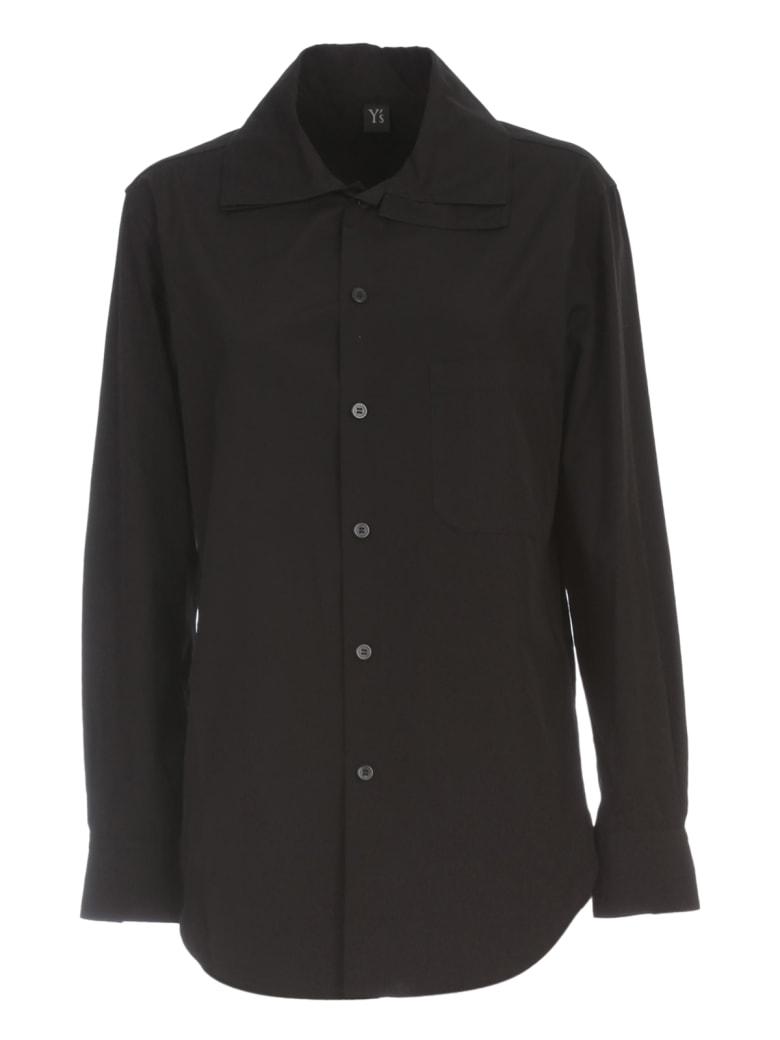 Y's U Layered Collar Shirt W/pocket - Black