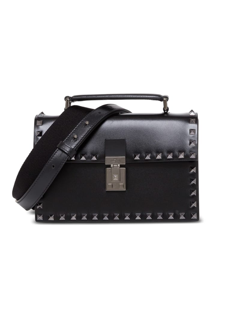 Valentino Garavani Rockstud Crossbody Bag In Black Leather - Nero