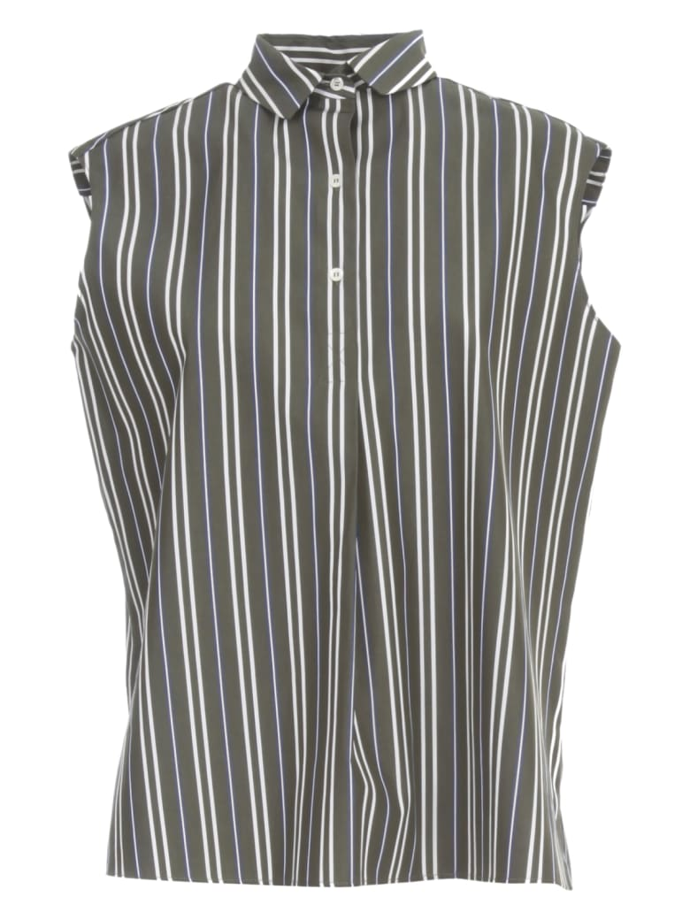 Aspesi Striped Flared Shirt W/s 3 Buttons - Fdo Military Riga