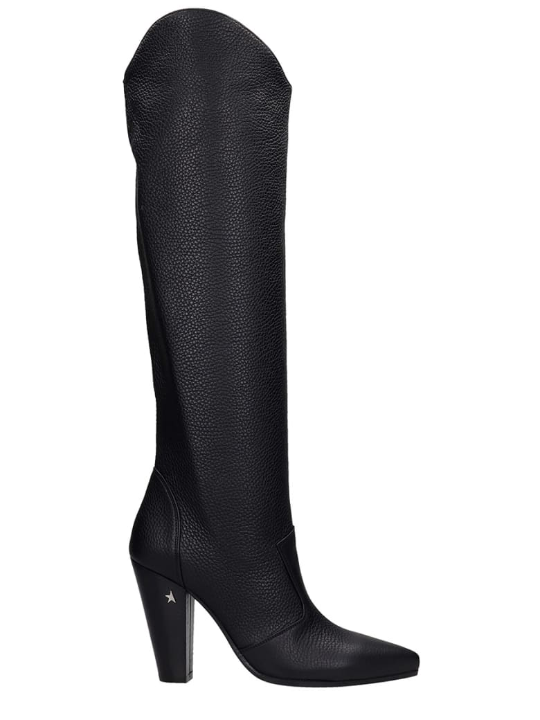 Golden Goose Michelle High Texan Boots In Black Leather - black