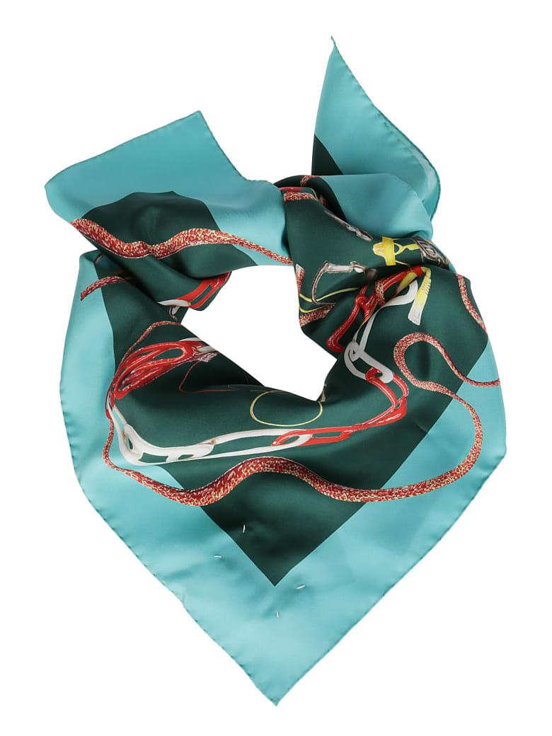 Maison Margiela Green Silk Scarf - Multicolor