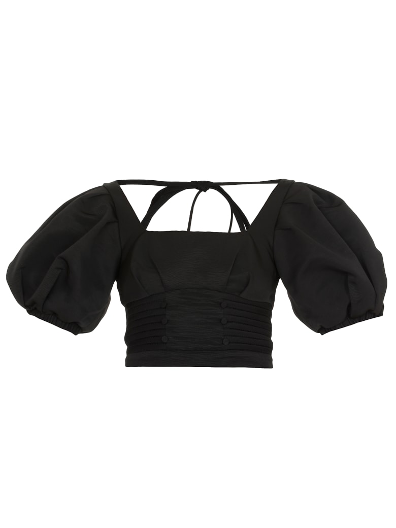 self-portrait Cropped Top - BLACK