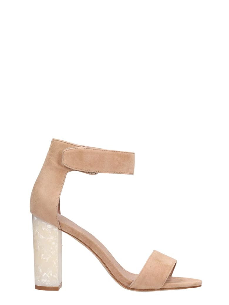 Jeffrey Campbell Nude Suede Lindsay Sandals - powder