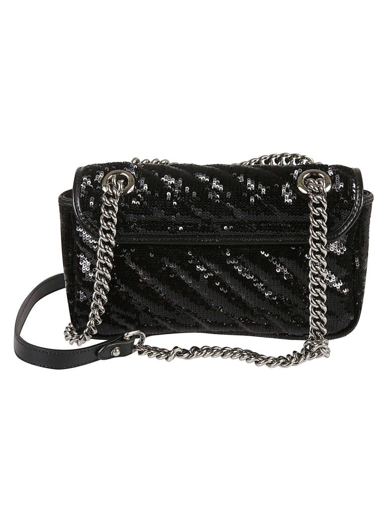 Gucci Sequin-coated Shoulder Bag - Black