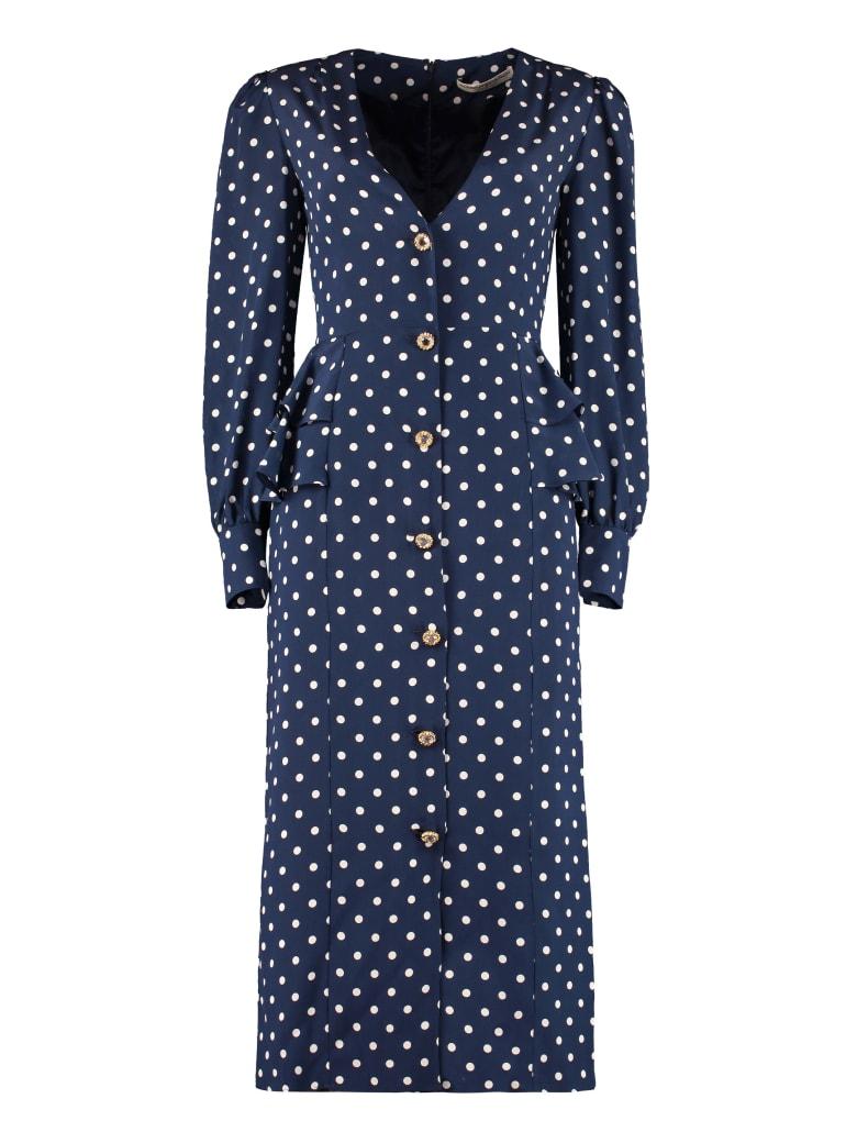 Alessandra Rich Polka-dot Silk Dress - blue