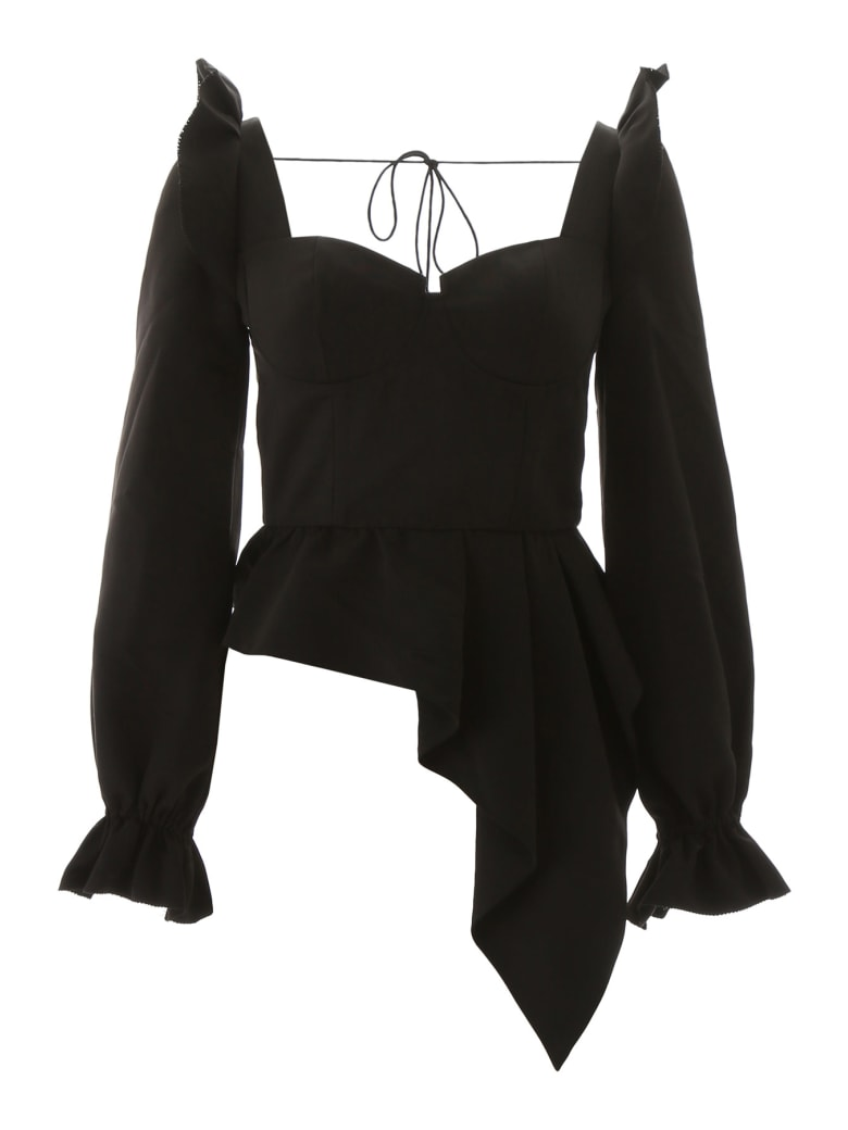self-portrait Peplum Top - BLACK (Black)
