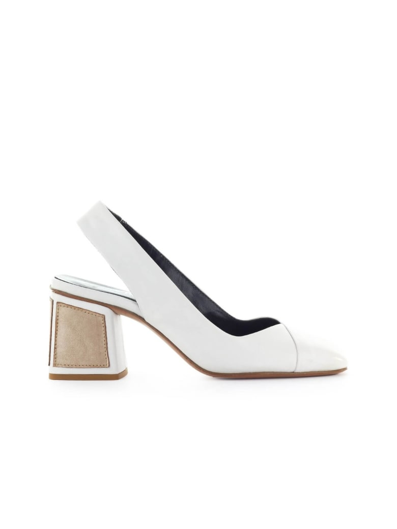 Fiori Francesi White Leather Slingback Pump - Bianco (White)
