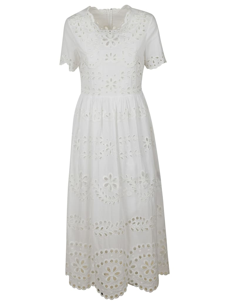 RED Valentino Floral Detail Long Dress - White