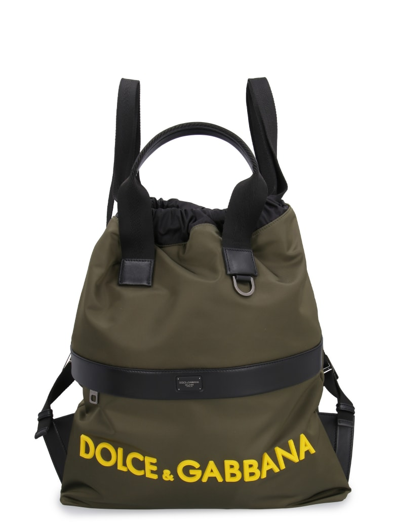 Dolce & Gabbana Nylon Backpack With Leather Details - green