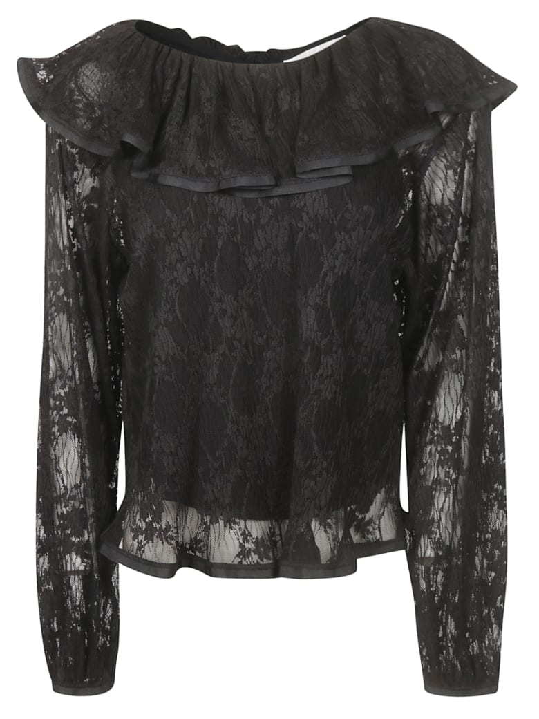 See by Chloé Laced Ruffled Blouse - Black