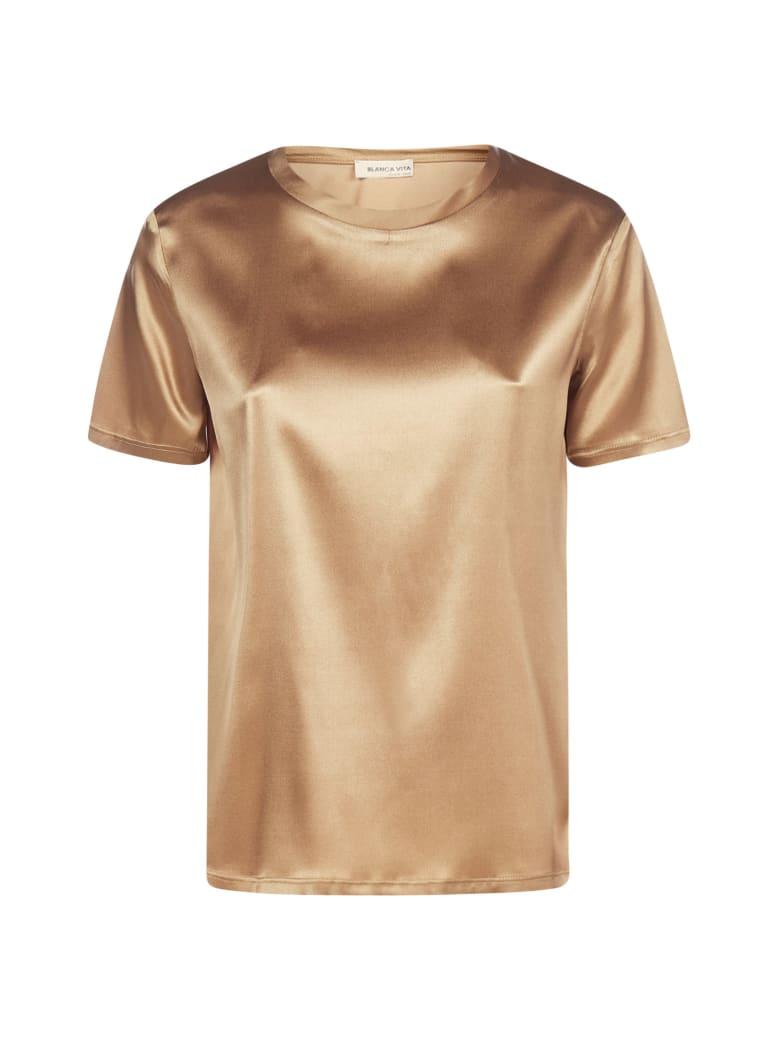 Blanca Vita Teodora Satin Silk T-shirt - Bronzo