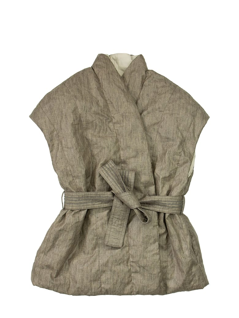 Brunello Cucinelli Coated Techno Linen Reversible Down Vest With Belt And Monili - Earth