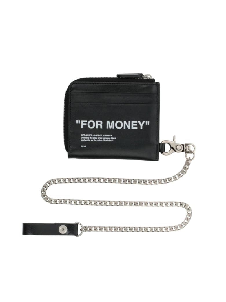 Off-White Quote Chain Wallet - Black white