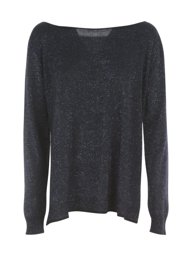 Nuur Boat Neck Open Sides Wool Sweater - Blu